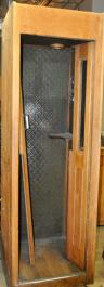 Early 20th Century Large Oak Phonebooth With Pressed Metal